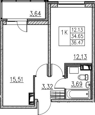 2Е-комнатная, 36.47 м²– 2