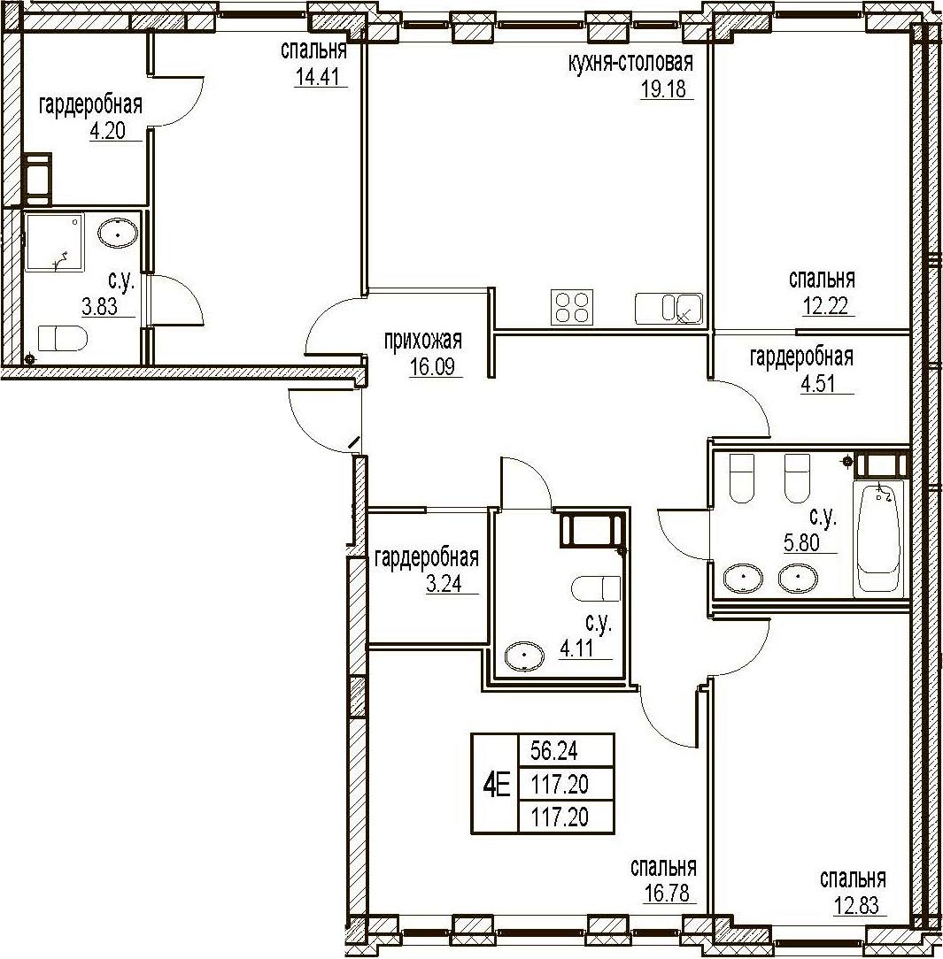 5Е-комнатная, 117.2 м²– 2