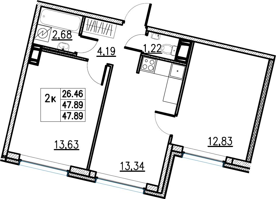 2-комнатная, 47.89 м²– 2