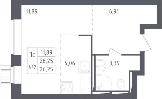Студия, 26.25 м², 17 этаж – Планировка