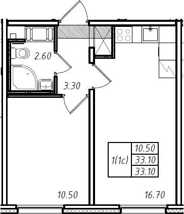 2Е-к.кв, 33.1 м², 14 этаж