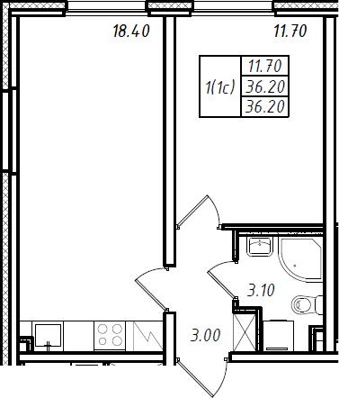 2Е-комнатная, 36.2 м²– 2