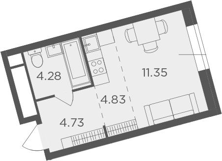 Студия, 25.19 м², 5 этаж
