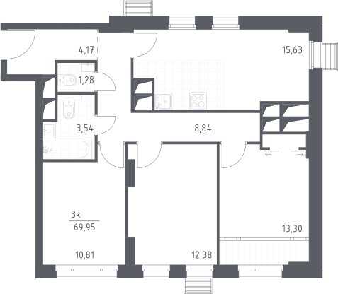 4Е-к.кв, 69.95 м², от 23 этажа