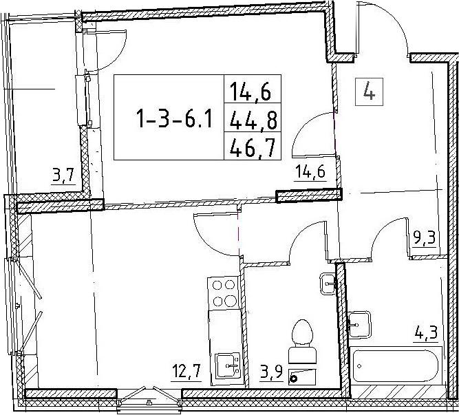 1-комнатная, 46.7 м²– 2