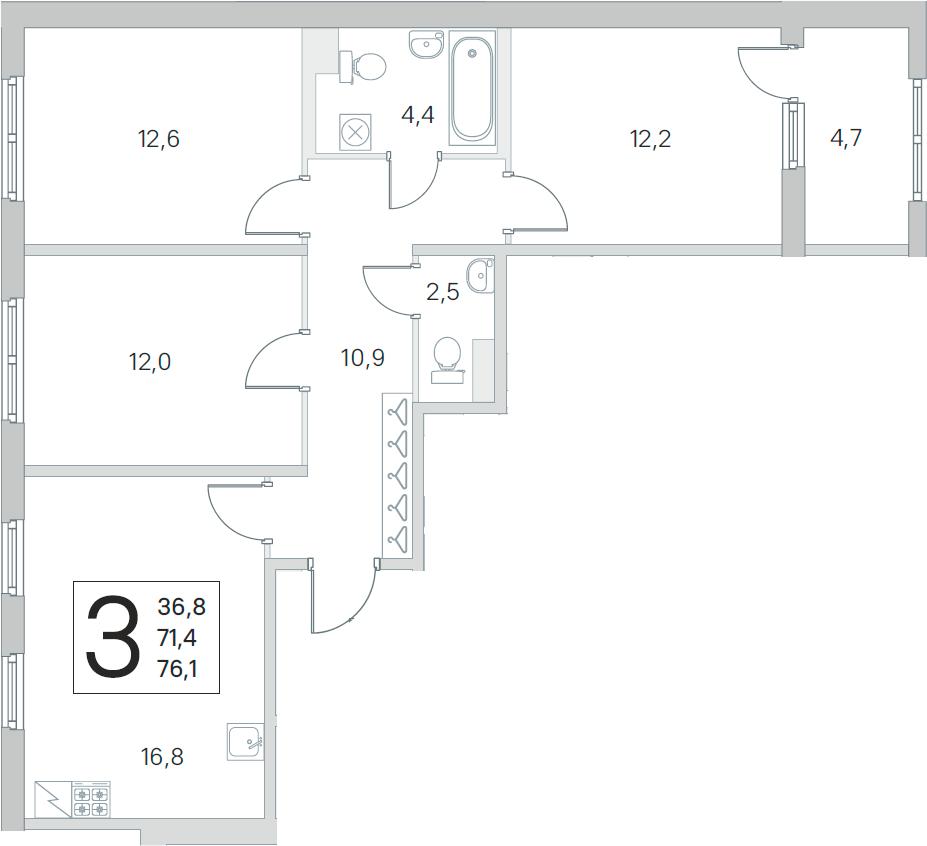 4Е-комнатная, 71.4 м²– 2