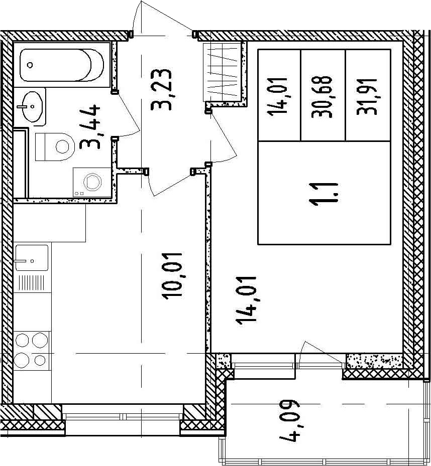 1-к.кв, 34.77 м²