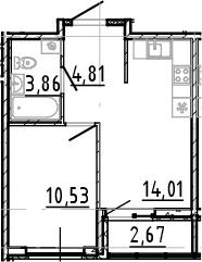 2Е-комнатная, 33.21 м²– 2