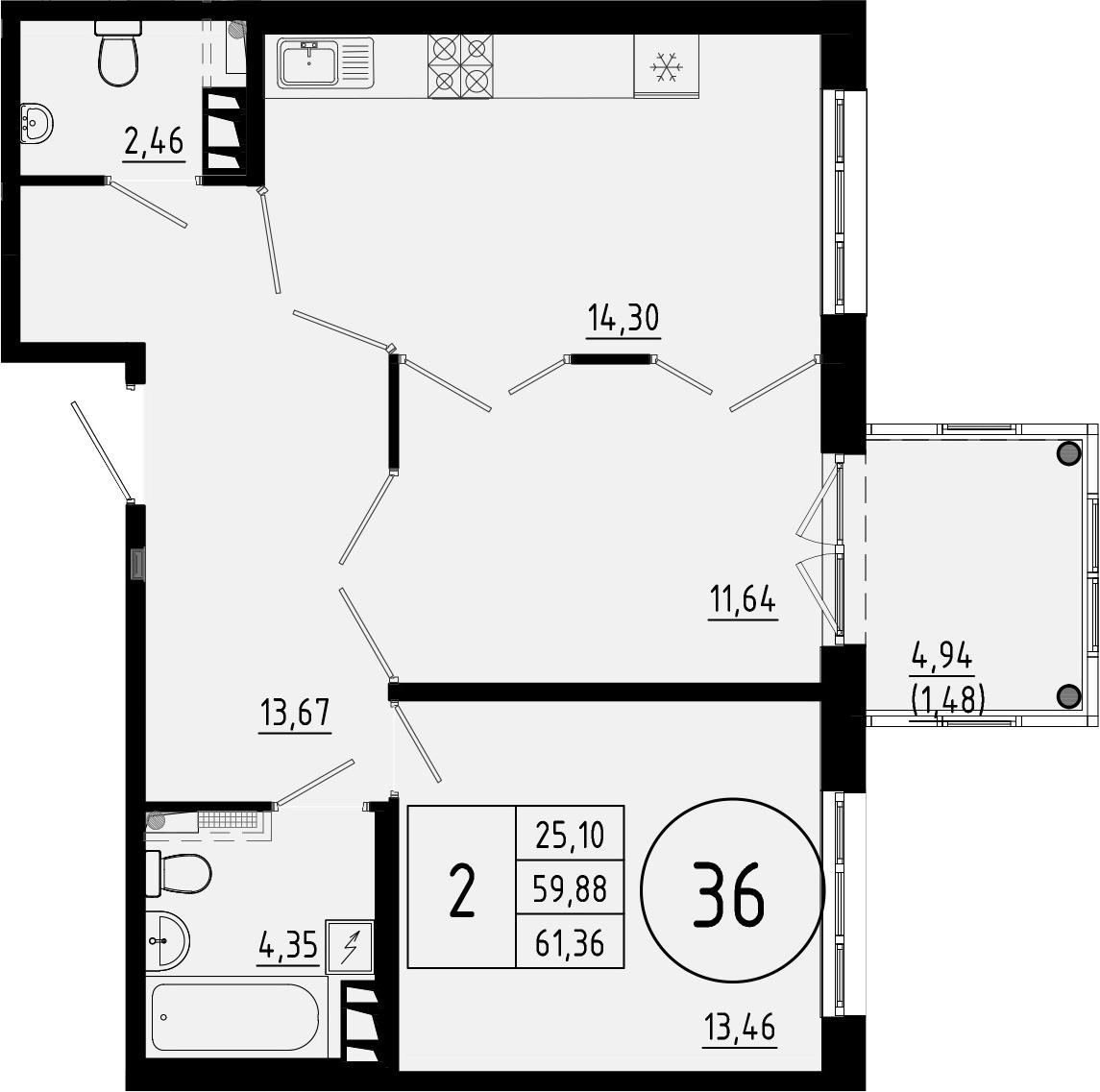 2-к.кв, 64.82 м²