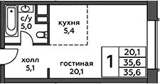Студия, 35.6 м²– 2