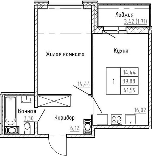 2Е-к.кв, 41.59 м², от 3 этажа