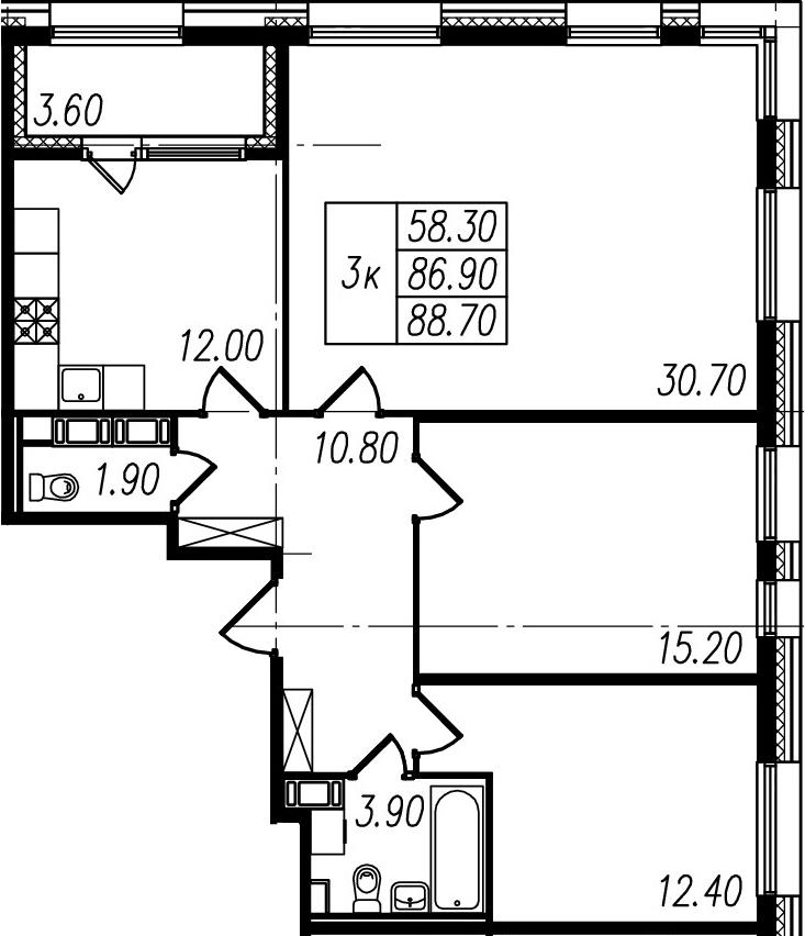 3-к.кв, 86.9 м²