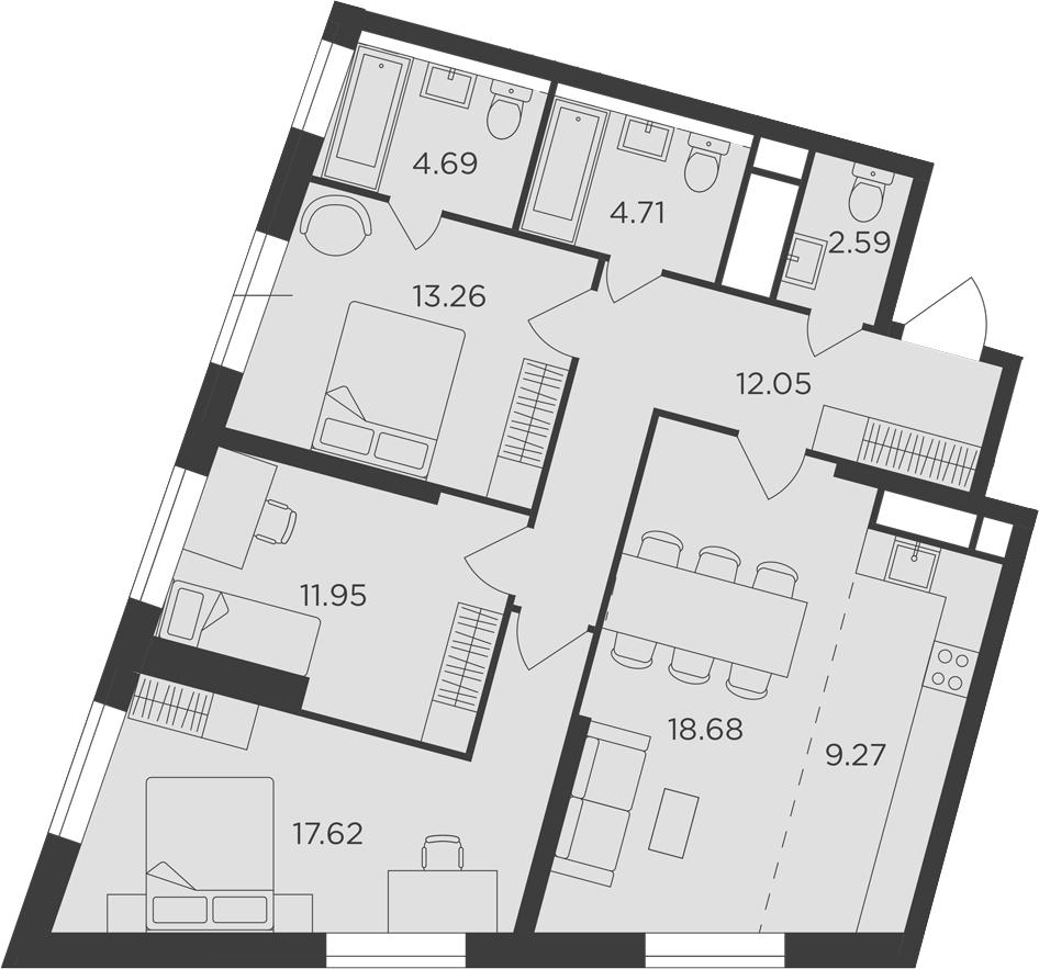 4-к.кв (евро), 94.82 м²