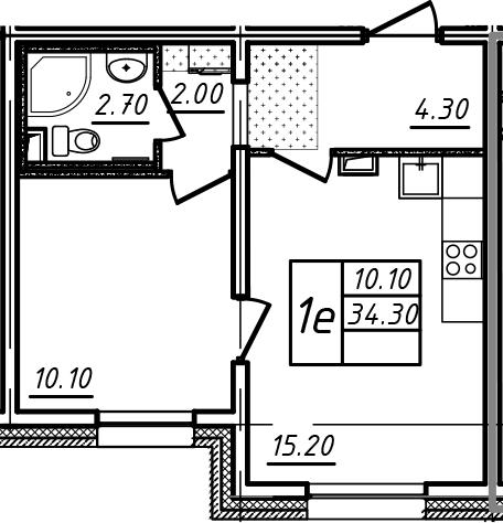 2Е-к.кв, 34.3 м²