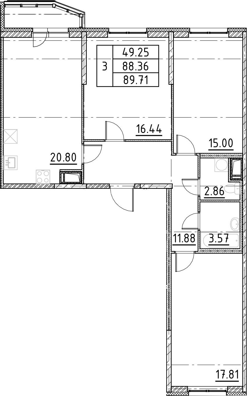 4-к.кв (евро), 91.06 м²
