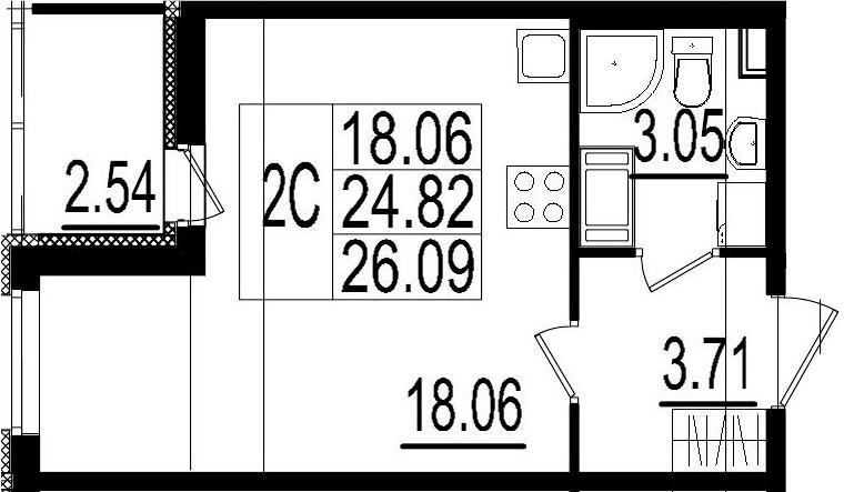 Студия, 24.82 м²– 2