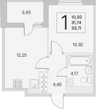 2Е-к.кв, 31.74 м², от 3 этажа
