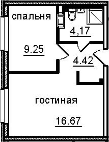 2-к.кв (евро), 34.51 м²
