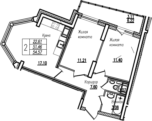 3Е-к.кв, 54.57 м²