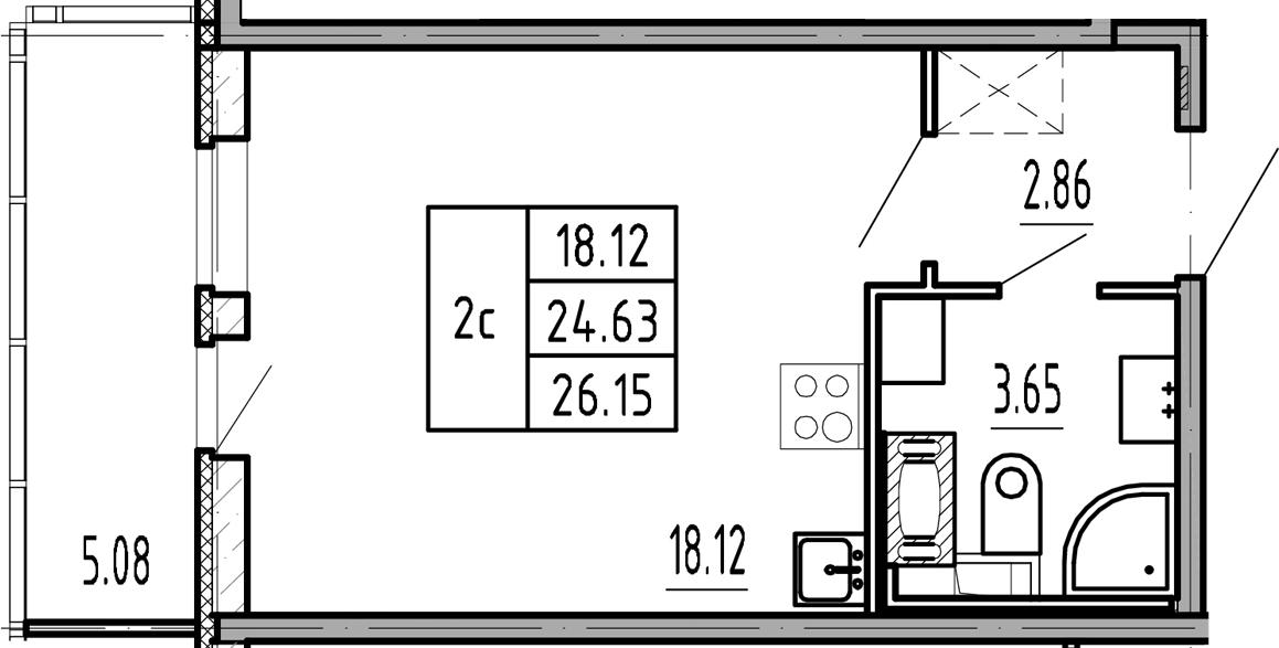 Студия, 24.63 м², 6 этаж
