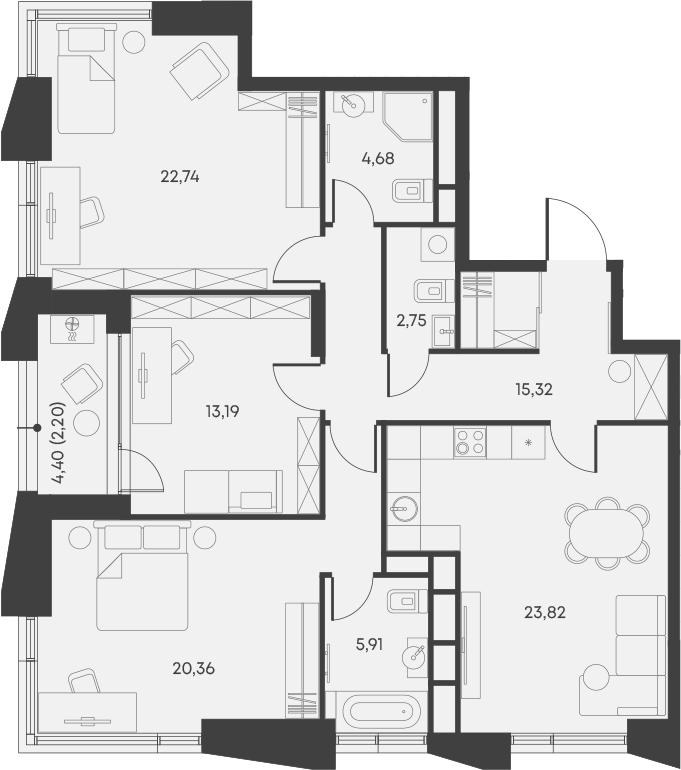 4Е-комнатная, 110.97 м²– 2