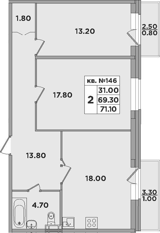 3-к.кв (евро), 75.3 м²
