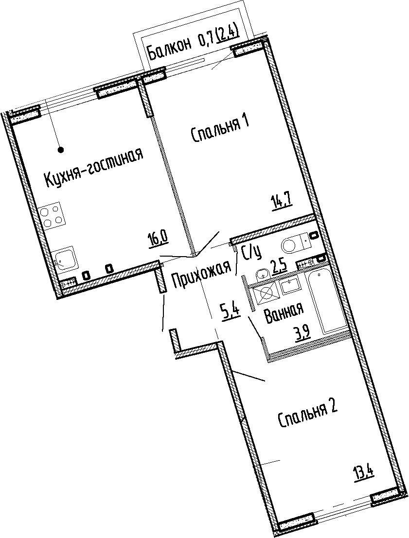 3Е-к.кв, 55.9 м², 1 этаж