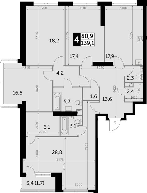 4-к.кв, 139.1 м², 28 этаж