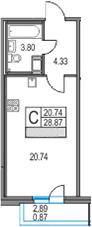 Студия, 28.87 м²– 2