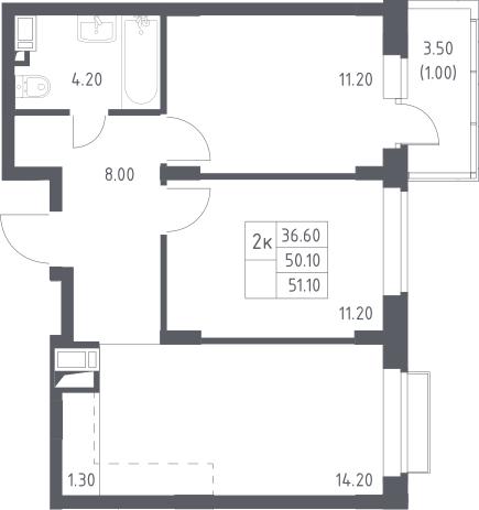 3Е-к.кв, 51.1 м²