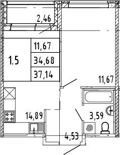 2Е-комнатная, 37.14 м²– 2