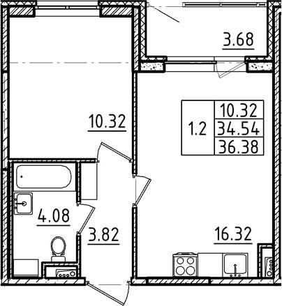 2Е-к.кв, 36.38 м², 1 этаж