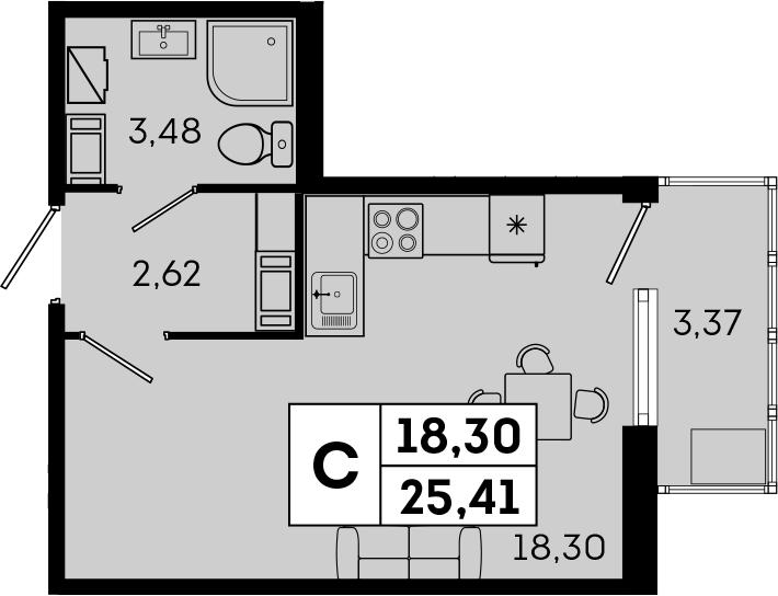 Студия, 25.41 м², 4 этаж