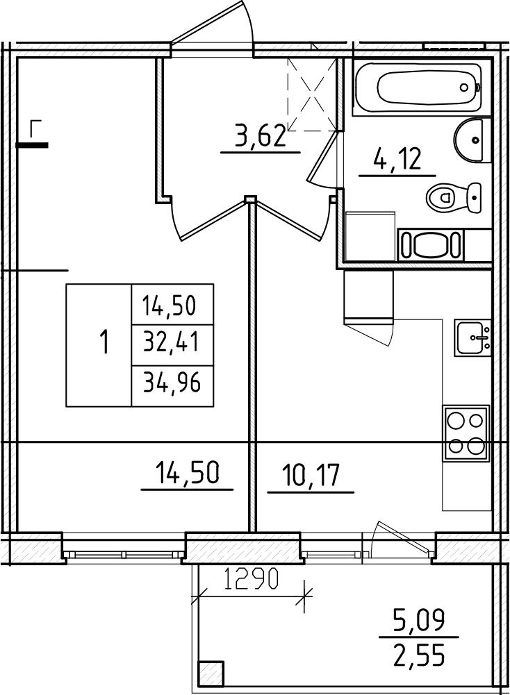 1-комнатная, 34.96 м²– 2