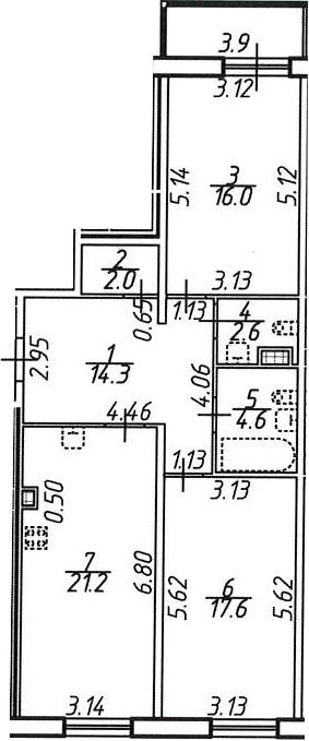 3Е-комнатная, 80.3 м²– 2