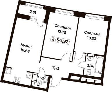 3Е-к.кв, 54.92 м²