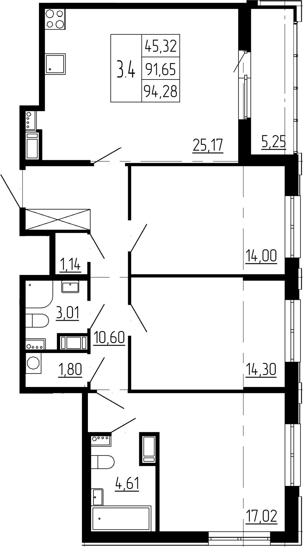 4Е-комнатная, 91.65 м²– 2