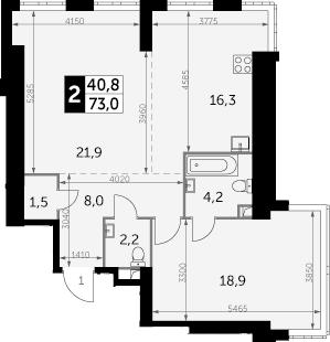 2-комнатная, 73 м²– 2