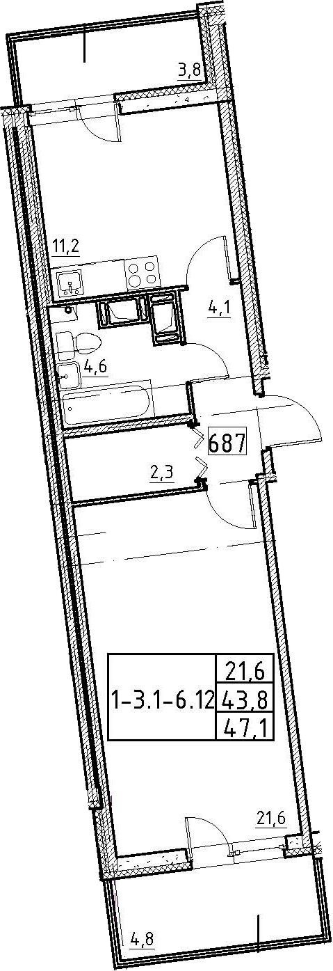 1-комнатная, 47.1 м²– 2