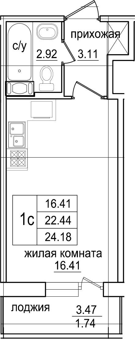 Студия, 24.18 м², 7 этаж