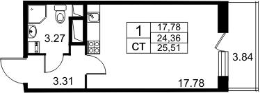 Студия, 24.31 м²– 2