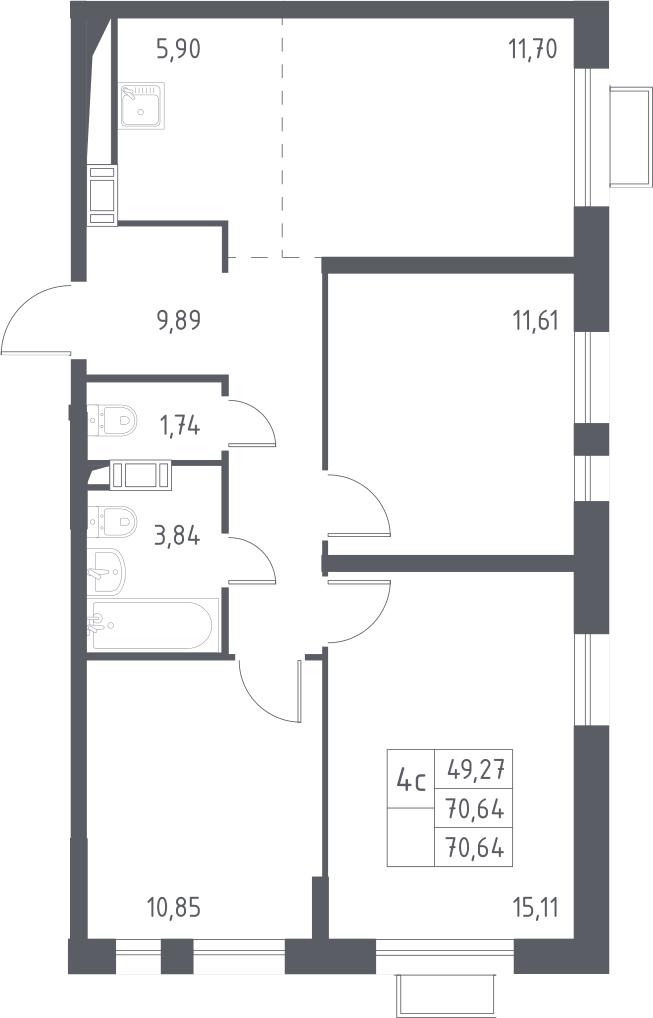 4Е-комнатная, 70.64 м²– 2