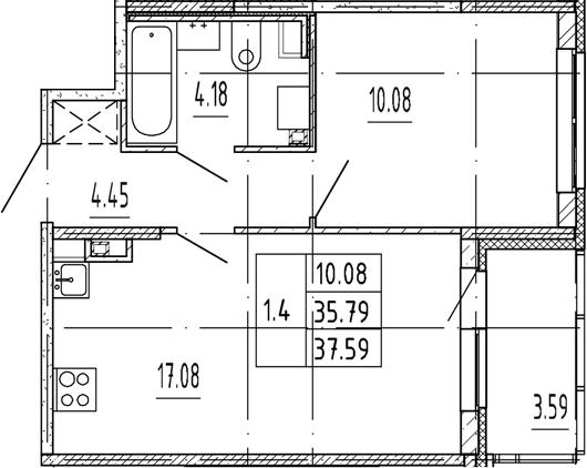 2Е-комнатная, 35.79 м²– 2