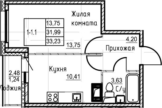 1-к.кв, 33.23 м²