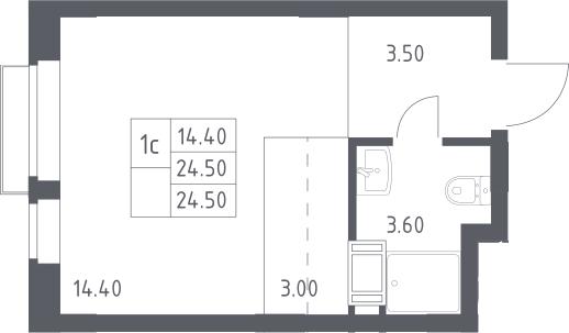 Студия, 24.5 м², 12 этаж