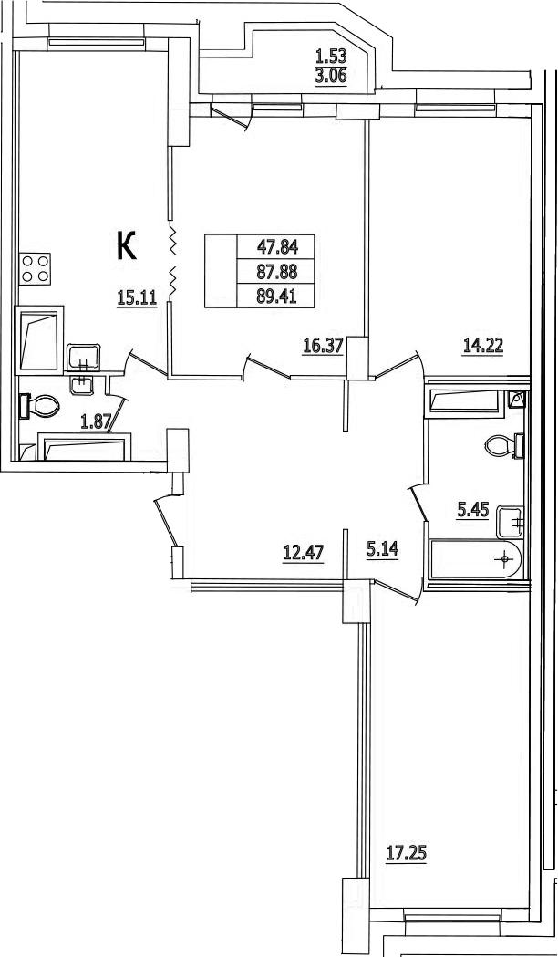 4Е-к.кв, 89.41 м²