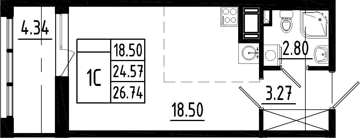 Студия, 28.91 м²