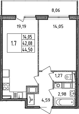 2Е-комнатная, 44.5 м²– 2