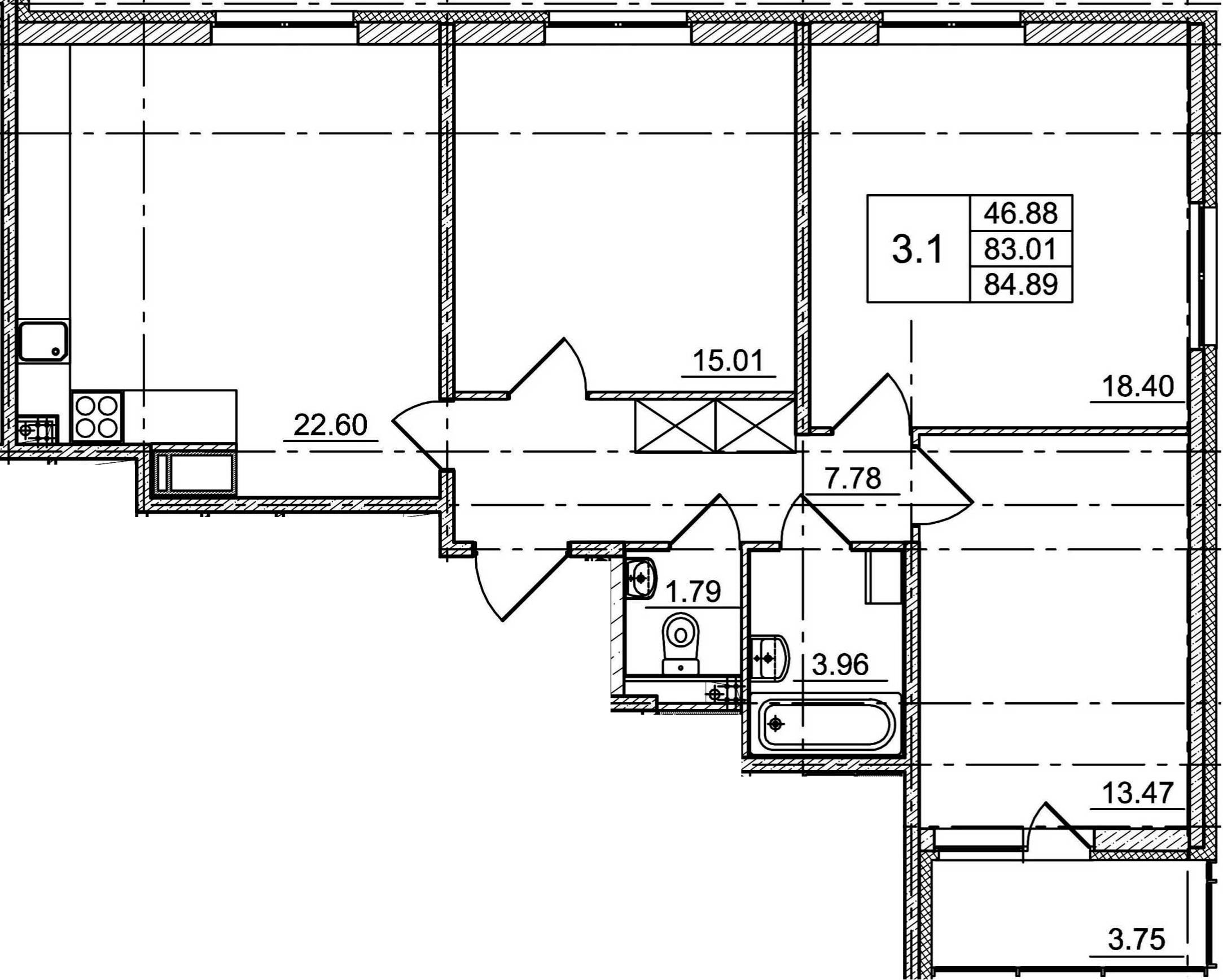 4Е-к.кв, 83.01 м²