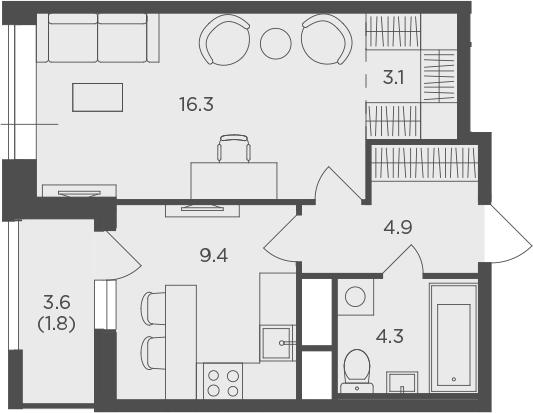 1-к.кв, 39.8 м², от 4 этажа